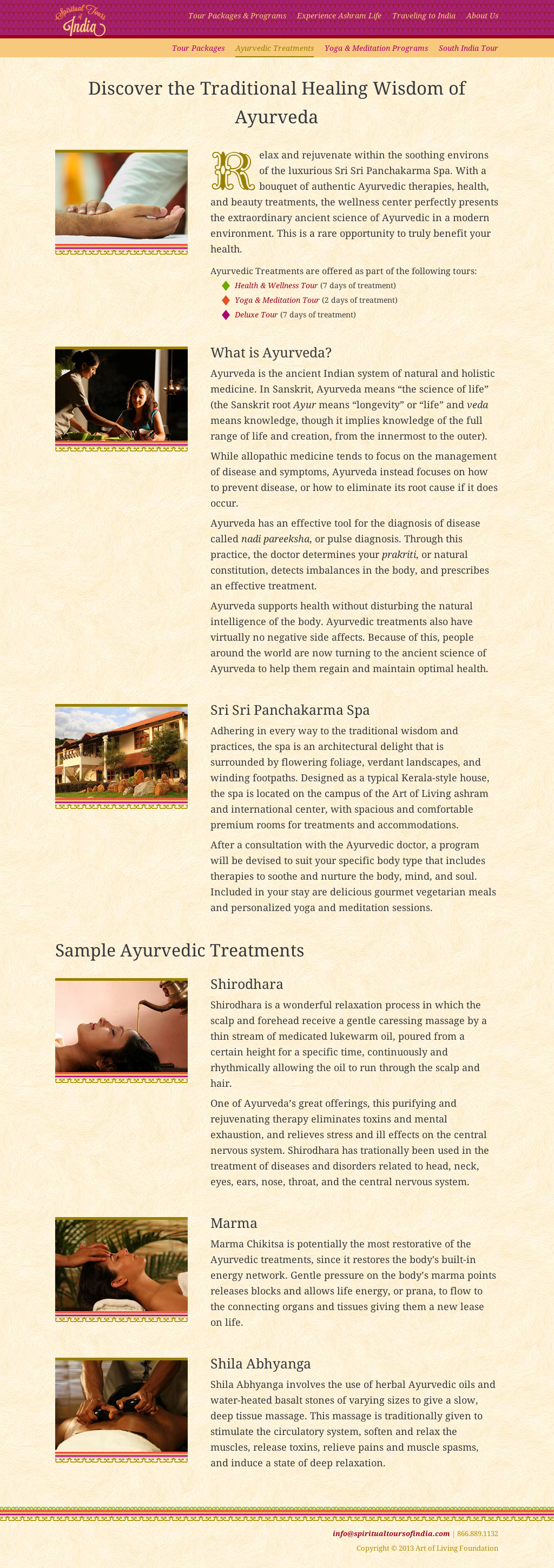 Ayurvedic Treatments Page