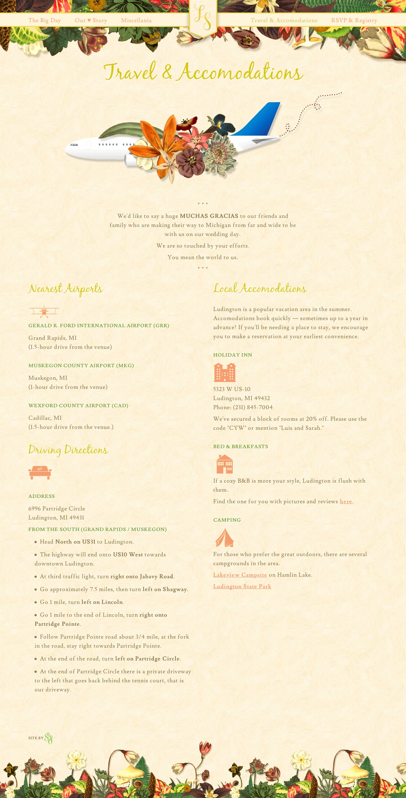 Wedding Website Accommodations Page