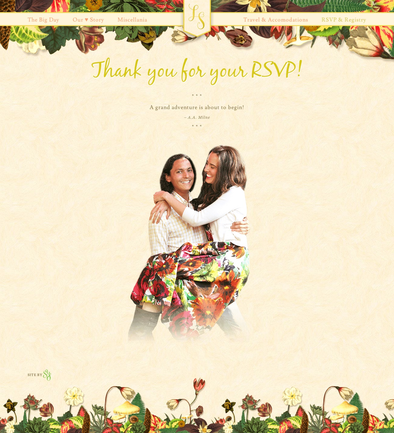 Wedding Website Thank you page