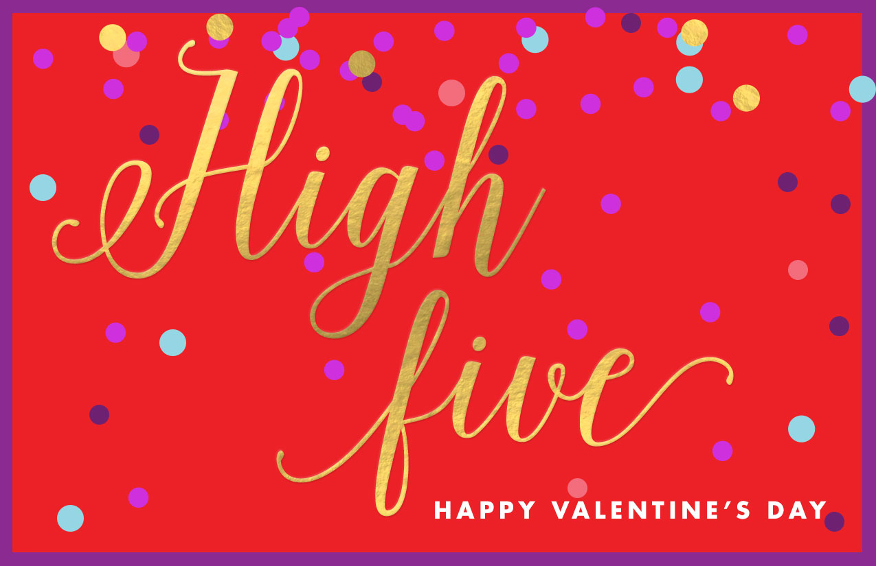 Printable Valentine's Day card - High Five