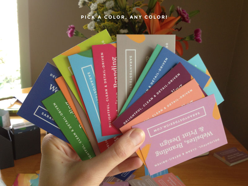 Multicolored business cards