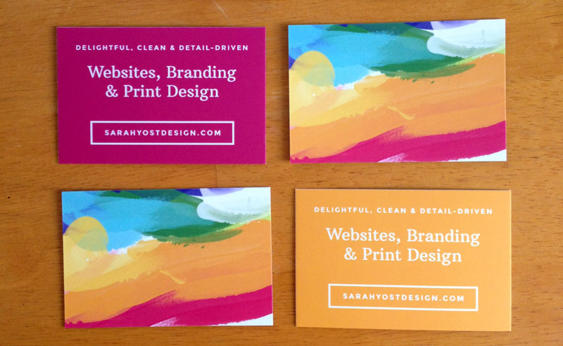Colorful painted business cards